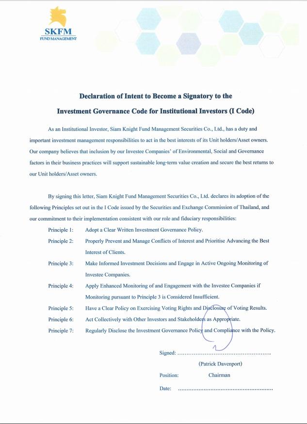Signatory Declaration to I CODE_SKFM